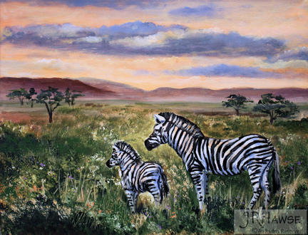 Zebra and Baby-After the Rain