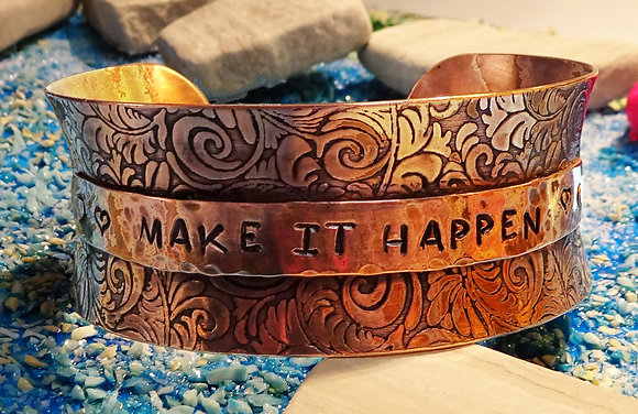 Copper Cuff With Customizable Insert (Swirl Embossed)