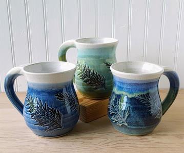 Shades of Blue and Green Cedar Mugs