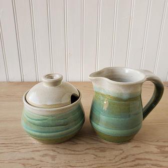 Serene Green Creamer & Sugar Bowl / Honey Pot