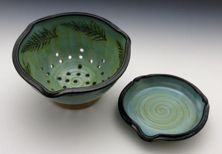Turquoise Green & Black Berry Bowl