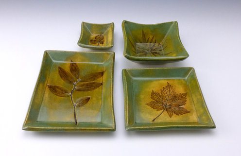 Yellow-Green Dishes, Showing the 4 Standard Sizes