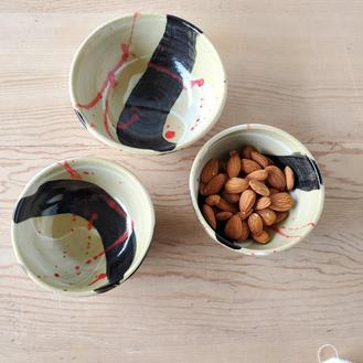 Black Splash of Color Bowls
