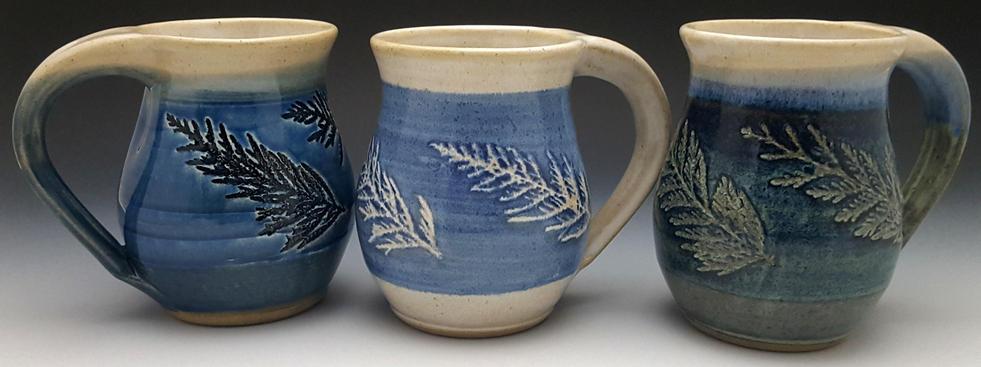 Three Shades of Blue Cedar Mugs