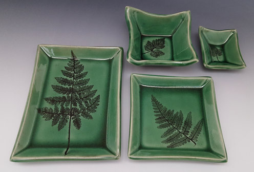 Crackle Deep-Green Dishes, Showing the 4 Standard Sizes