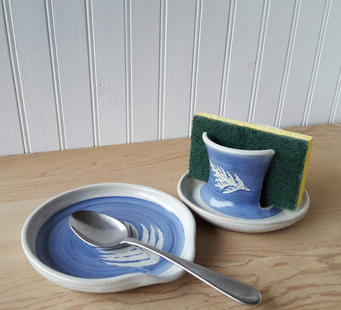 Blue Spoon Rest and White Sponge Holder