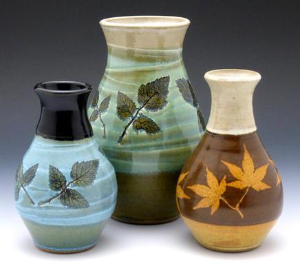Three Vases w/ Leaf Imprints