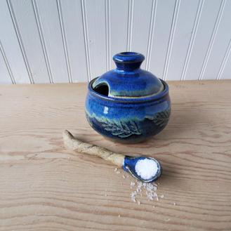 Blue-lided Salt Cellar w/ Spoon