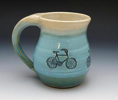 White & Turquoise Bicycle Mug