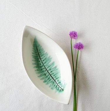 White Fern Boat Bowl