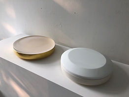 Large Round Boxes - Clear & Gold, White