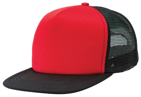 d3651212094 Flat Peak Trucker Cap (4384). Product Specifications  5 panel design with flat  peak. Padded polyester front panel with nylon mesh side and back panel