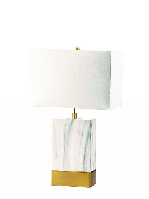"8"" X 13"" X 25"" White Satin Gold Metal Shade Table Lamp"