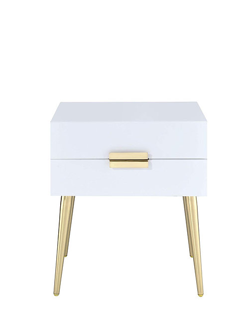 """20"""" X 16"""" X 24"""" White And Gold Metal End Table"""
