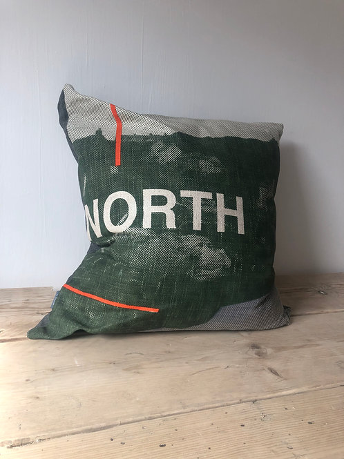 Large North Cushion - Khaki, Grey, Orange with Black Backing