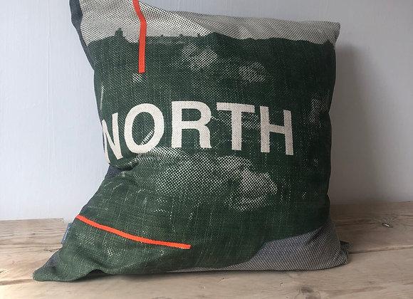 Large North Cushion - Khaki, Grey, Orange with Black Backing