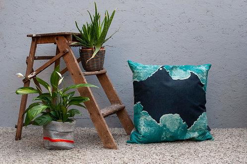Small Rock Cushion - Blue Popple Backing