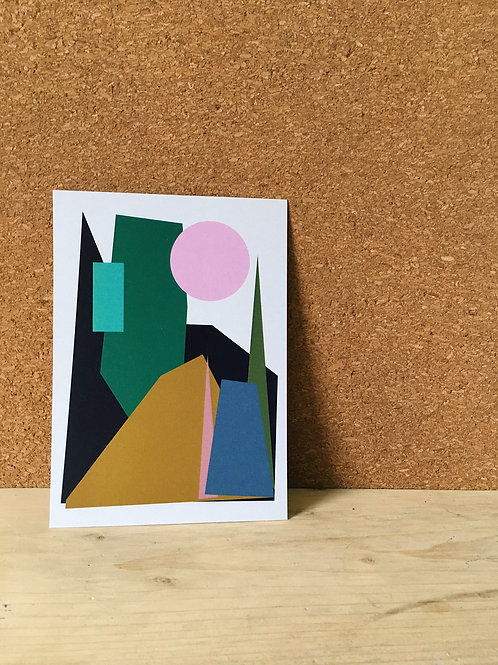 Hillside Collage A6 Art Print