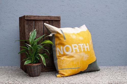 Large North Cushion - Mustard, Full Grey Backing
