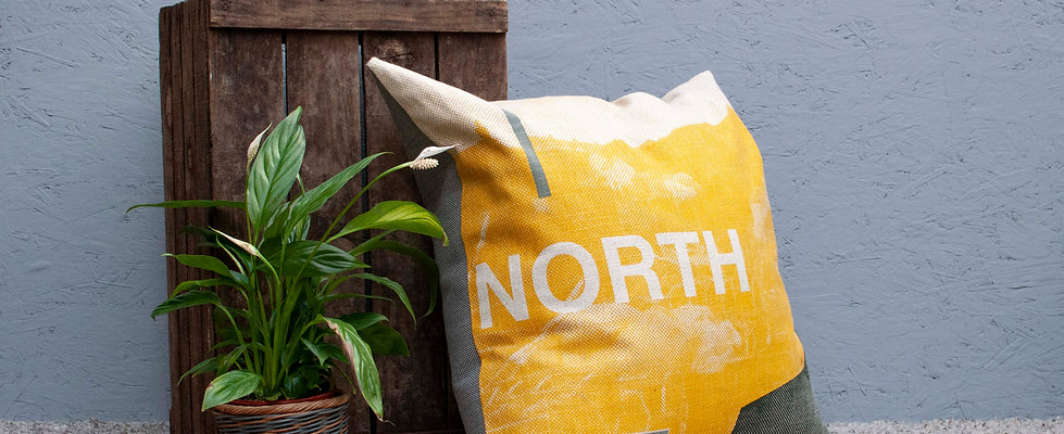 Large North Cushion - Mustard, Grey Backing