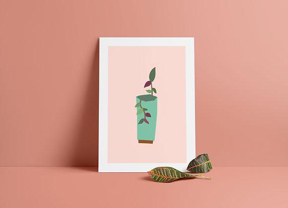 Teal Planter A5 Print