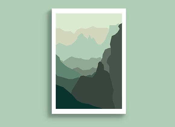 Hilltop Layers Landscape A5 print