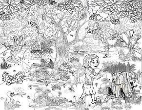 "Pencil concept art from the published childrens book ""Bella Boo & Bloomerfen."