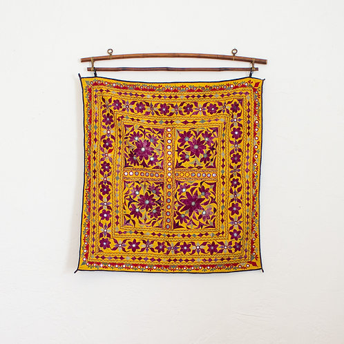 Vintage Indian Textile | Embroidered Chaakla Wall Hanging