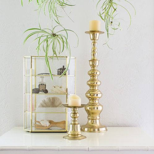 Chunky Brass Candle Holder | Modern Glam Hollywood Regency