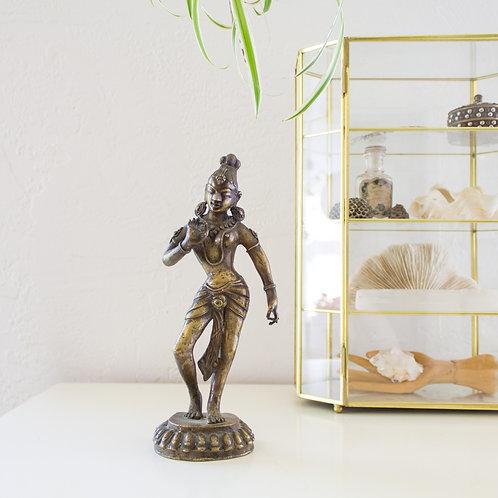 Brass Hindu Statue | Female Devadasi Dancer | Mudra Hands