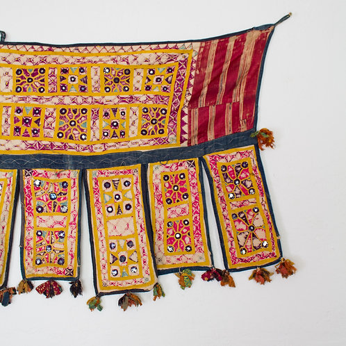 Vintage Indian Toran Embroidered and Mirrored | Banjara Tribe