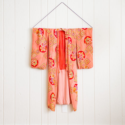Japanese Vintage Silk Kimono |Pink Coral XS