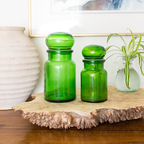 Green Glass Apothecary Jars | Made in Belgium | Vintage
