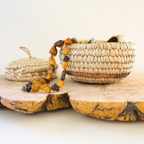 Lidded Coil Basket | Vintage Storage Organization Decor