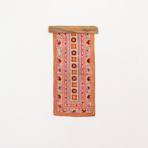 Hmong Tribe Embroidered Textile | Vintage Boho Wall Hanging