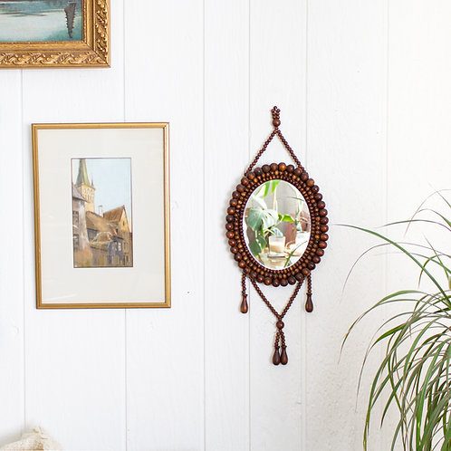 Beaded Accent Mirror | Vintage Boho Brown Wood