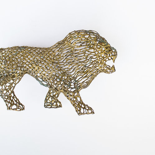 Pierced Brass Lion Figurine From Mexico | Vintage Decor Accent