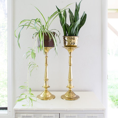 Oversized Candlesticks | Brass Plant Stands | Candle Holder Set
