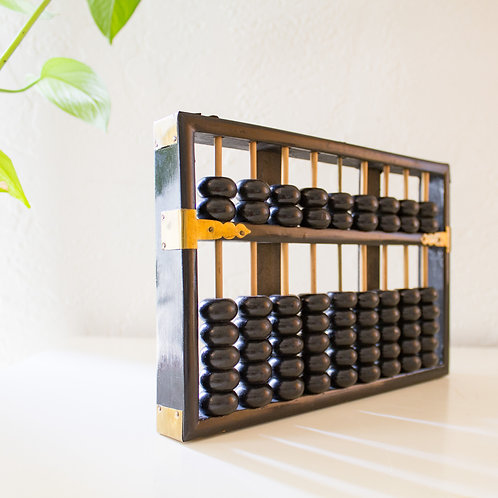 Black Lacquer Brass Abacus | Peoples Republic of China | 1920s