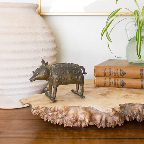 Antique Indian Toy | Bronze Pig or Boar on Wheels