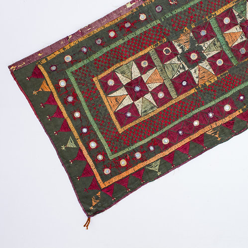 Vintage Indian Toran Embroidered with Mirrors | India Textiles