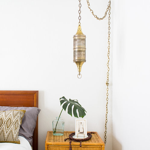 Morroccan Swag Lamp | Pierced Brass | Vintage Lighting