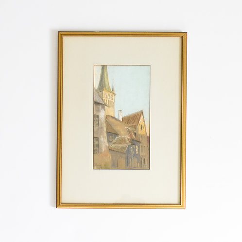 Original Pastel Cityscape | European Steeples of Tallin Estonia