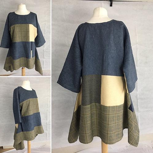 Grey blue and beige linen blend tunic dress