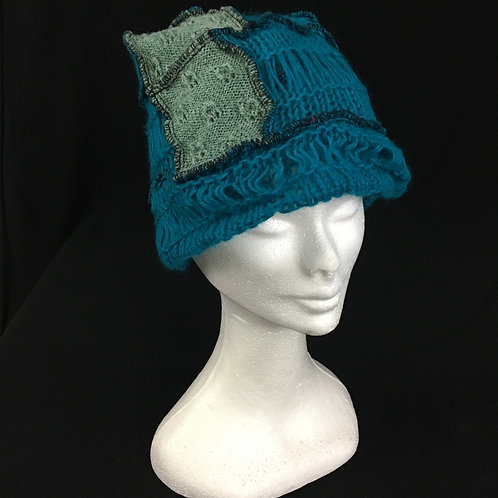 Turquoise beanie recycled hat
