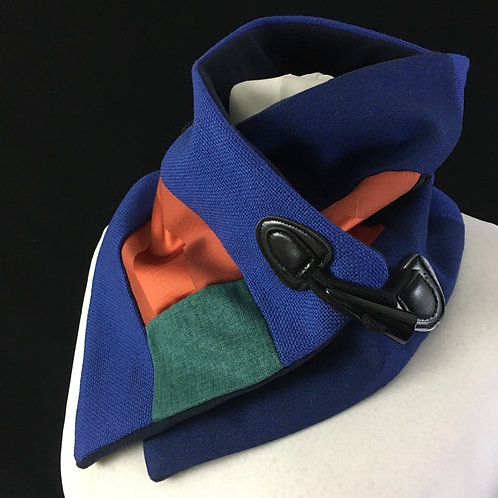 Blue and orange patchwork neck warmer