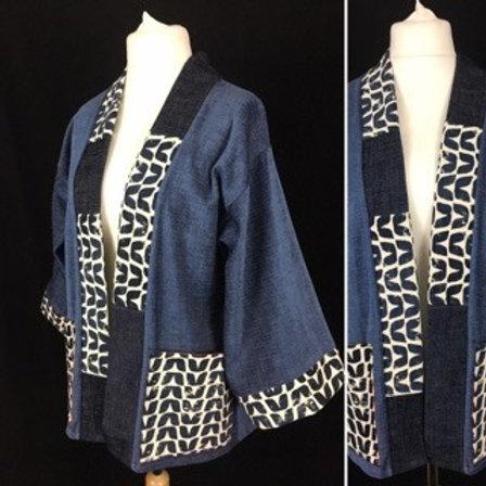 Free size blue, navy and white Kimono style jacket