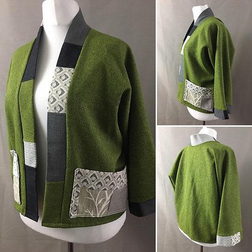 Green crop kimono jacket