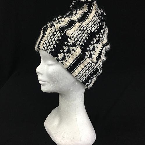 Black and white winter beanie hat