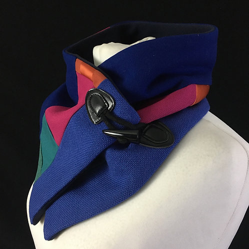 Blue pink and green neck warmer